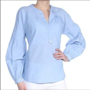 Joie Maritime Chambray Azabeth Pleated Blouse Top